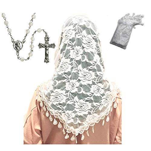 (Mass Veil White Catholic Church Mantilla and Rose Bead Rosebud Rosary Gift Set Chapel Lace Shawl or Scarf Latin Mass Head Cover with a Handy Storage Pouch)