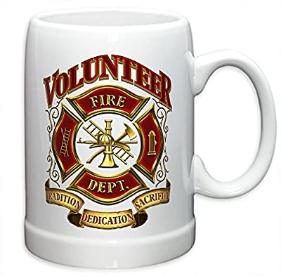 German Beer Stein - Firefighter Gifts for Men or Women - Volunteer Firefighter Stoneware Beer Stein - Firefighters Beer Glass with Logo (20 Ounces)