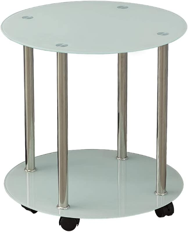 TUKAILAI 2 Tiers White Small Round Glass Sofa Side End Table with Wheels and Stainless Steel Legs with Storage Shelf Glass Laptop Stand Lamp Table Bedside