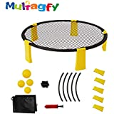 MULTAGFY Spike Ball Game Set Slam Ball Game with 4 Spyderballs Outdoor Game for Beach Camping Yard Lawn Tailgate
