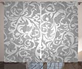 """Grey Curtains, Victorian Style Large Leaf Floral Pattern Swirl Classic Abstract French Vintage Print, Living Room Bedroom Window Drapes 2 Panel Set, 108"""" X 90"""", Gray"""