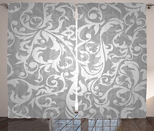 "Ambesonne Grey Curtains, Victorian Style Large Leaf Floral Pattern Swirl Classic Abstract French Vintage Print, Living Room Bedroom Window Drapes 2 Panel Set, 108"" X 90"", Gray"