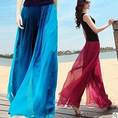Women's Wide leg Loose Chiffon Gauze Pants New (Gauze Pant Leg)