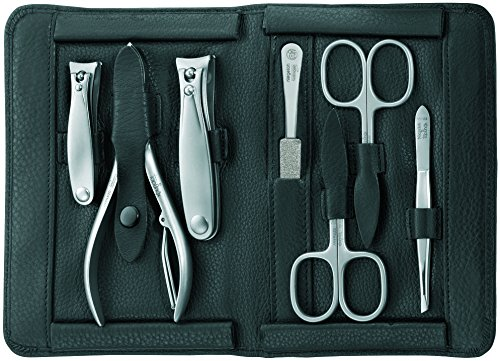 TopInox Stainless Steel Manicure Set for Men in a Black Leather Case. Made by Niegeloh, Germany by Niegeloh by Niegeloh