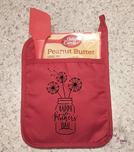 Happy Mother's Day Dandelions Mason Jar Pocket Pot Holder Personalized Gift Oven Mitt Kitchen Decor