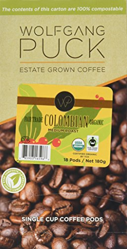 Wolfgang Puck Coffee, Consistent Fair Trade, Colombian Coffee, 9.5 Gram Pods, 6 x 18 Count