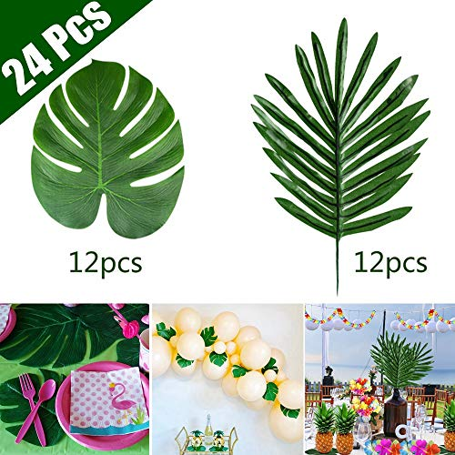 KUUQA 24 Pcs Tropical Palm Leaves Luau Party Decoration Artificial Simulation Tropical Monstera Plant Leaves for Hawaiian Safari Jungle Beach ThemeBeach Theme BBQ Party Decorations Supplies (2 Styles)