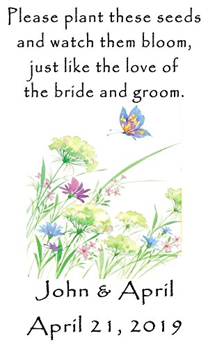 Personalized Wedding Favor Wildflower Seed Packets Butterfly Flowers Design 6 verses to choose from Set of ()