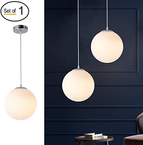 Mid-Century Modern Globe Pendant Light for Kitchen Island, Beautiful Glass Globe Chandelier Lighting Hanging Light Fixture for Dining Room Living Room Bedroom