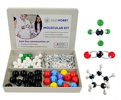 Organic Chemistry Model Kit (115 Pieces) Chemistry Set Molecular Model Kit, Atoms and Bonds with Instructional Guide - Chemistry Kit for Students, Teachers & Young Scientists by Old Nobby