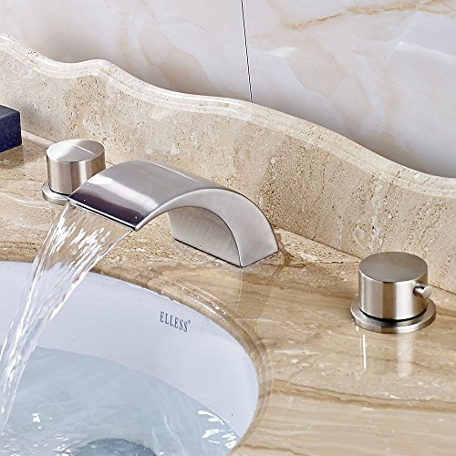 new Votamuta Deck Mounted Bathroom Waterfall Spout Vessel Sink Faucet Dual Handles Stainless Steel Lavatory Mixer Tap, Brushed Nickel
