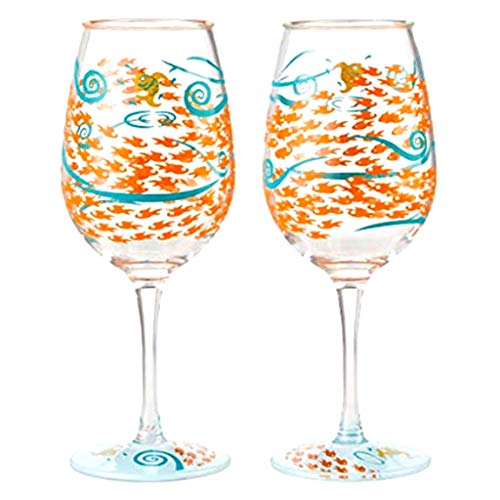 Designs by Lolita Fish Out of Water Acrylic Wine Glasses, SET of FOUR (4), 16 oz.