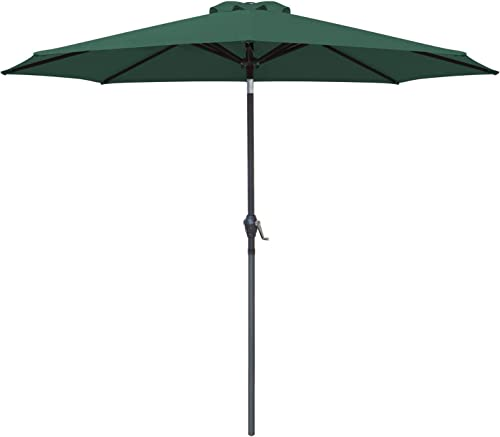 Greesum 9FT Patio Umbrella Outdoor Market Table Umbrella with Push Button Tilt, Crank and 8 Sturdy Ribs for Garden, Lawn,Backyard Pool,Dark Green