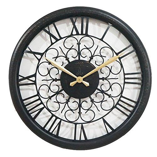 Wall Clocks Battery Operated Large Wall Clock Wrought Iron Roman Art Retro Wall Clock Creative European Pastoral Living Room Wall Clock 23 Inches Date Display Enamel Dial