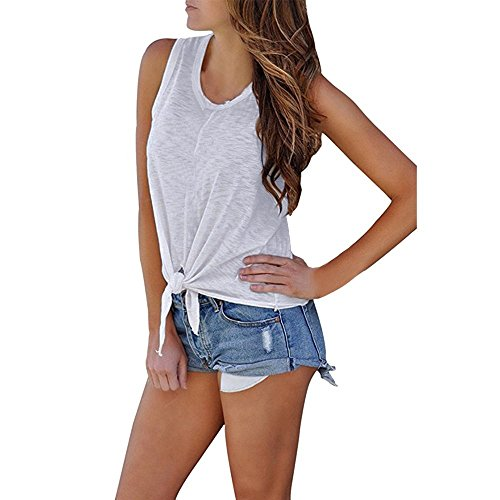 GOVOW Summer Front Tie Knot Cami Tank Tops for Women O Neck Sleeveless Shirt Blouse ()