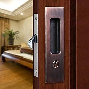 CCJH Sliding Door Locks Invisible Door Locks Wooden Door Lock Furniture  Hardware (red Copper)