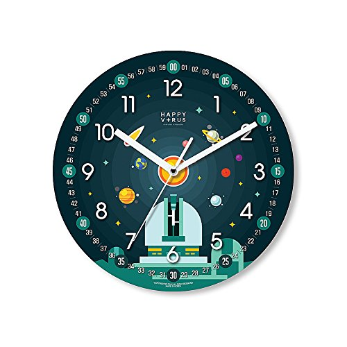 HappyVirus 11.22'' Educational Wall Clock, Children's Time Telling Teacher, Silent Non Ticking Home Decoration (Space Observatory) #2100 by HappyVirus