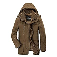 AFSJEEP Men's Fleece Warm Thicken Hooded Cotton Padded Coats Winter Jacket