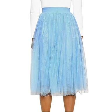 Falda de Noche de Malla elástica para Mujer, Vestido Casual de ...
