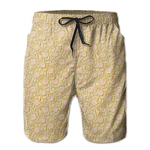Bilybily Romantic Rose Petals Men Shorts Summer Loose Men Print Drawstring Casual Beach Work Short Trouser Shorts Pants with ()