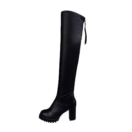 rivenditore di vendita aee9f 9b7e8 TAOtTAO - Morbidi stivali donna in pelle altezza al ginocchio, stivali alti  da esterno, infilabili, elasticizzati, tacco alto, allungano la gamba, ...