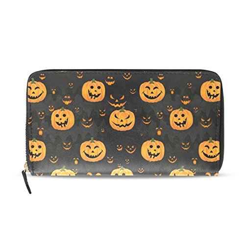 Womens Halloween Pumpkin Scary Face Pattern Long Wallet & Purse Case Card Holder -