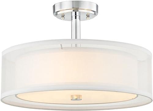 Semi-Flushmount Light White Drum Shade Chrome