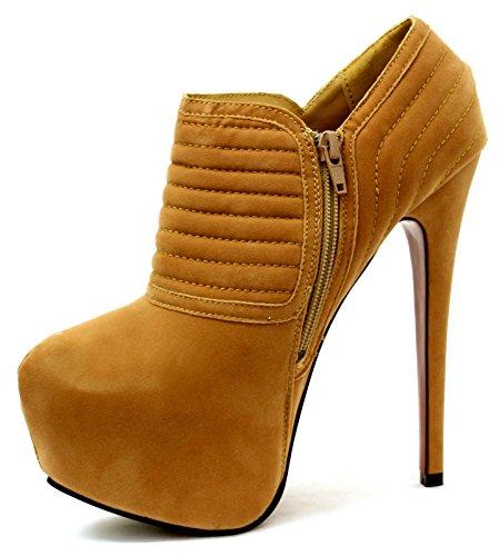 High Hidden Platform Nude Dark Pumps Ankle Women Quilted Suede Boot Ladies Heel Stiletto Shoes 5q1IR