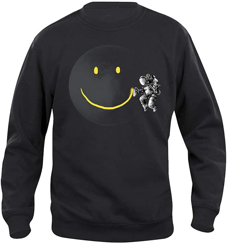 Astronaut in The Space Black High res Print Pampling Make a Smile Sweartshirt