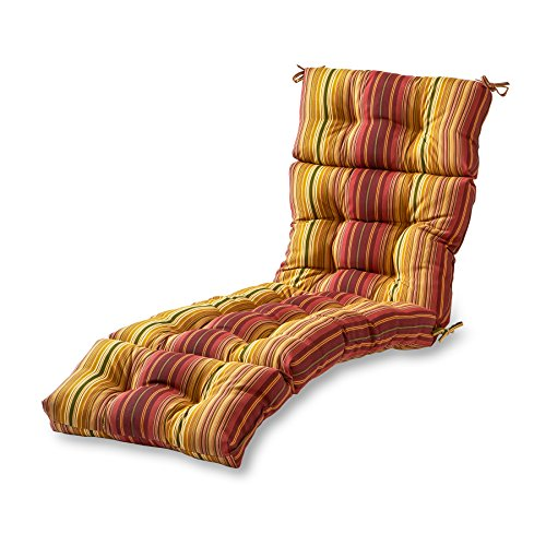 Cushion Stripe (Greendale Home Fashions 72-Inch Patio Chaise Lounger Cushion, Kinnabari Stripe)