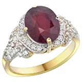 14k Yellow Gold Natural Enhanced Ruby Ring Diamond Halo Oval 10x8mm, 1/2 inch wide, size 8