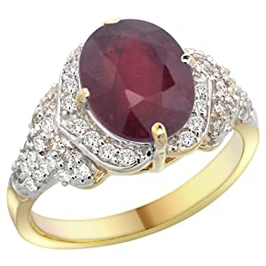 14k Yellow Gold Natural Enhanced Ruby Ring Diamond Halo Oval 10x8mm, 1/2 inch wide, size 10