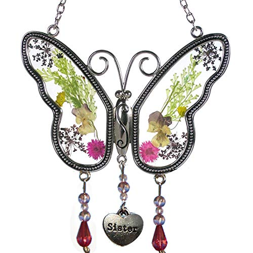 Sister Butterfly Suncatchers Stained Glass Butterfly Sun catcher for windows with Pressed Flower Wings Embedded in Glass with Metal Trim Sister Heart Charm - Gifts for Sister -Sister for birthdays