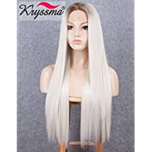 K'ryssma Blonde Lace Front Wigs for Women Long Straight Ombre Synthetic Wig with Dark Roots Heat Resistant 22 inches