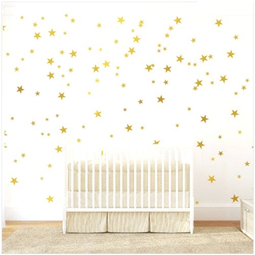 (Haawooky Gold Stars Wall Decal (130 Decals) Stars Pattern DIY Wall Stickers Removable Home Decoration Metallic Vinyl Polka Wall Decor Sticker for Baby Kids Nursery Bedroom)