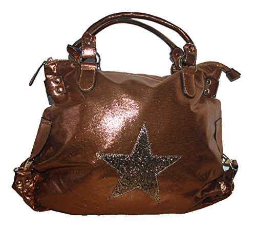 Damen Tasche Shopper Glitzer Stern Kunstleder metallic look bronze 2017.0033/A17