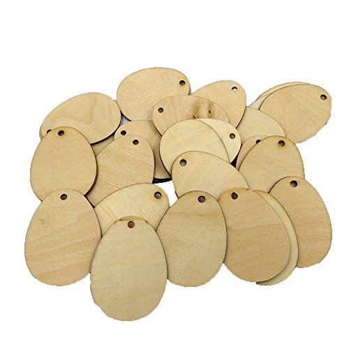 (50Pcs Wood Easter Eggs Decorative Egg Shape Tags Wooden Cutouts Unfinished Wood Crafts Tags Decorative Pendants for Easter Decorations Party Favors (60mm))