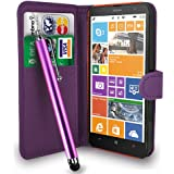 Nokia Lumia 1320 Dark Purple Leather Wallet Flip Case Cover Pouch + Free Screen Protector & Touch Stylus Pen + Polishing Cloth