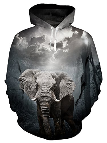 Leapparel Women's Unisex 3D Print Elephant Hip Hop Hoodies Sweatshirts Casual Fashion Hoodie Sweater ()
