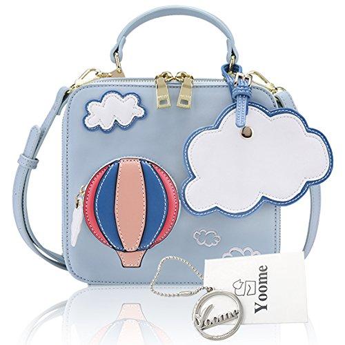 Yoome Cute Decoración de dibujos animados Hot Air Balloon bolso monedero señoras Remaches Nube Decoración Emroidery