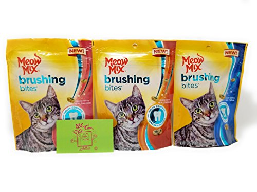 Meow Mix Brushing Bites Cat Dental Treats 3 Flavor Variety Bundle: (1) Real Salmon, (1) Real Chicken, and (1) Real Tuna