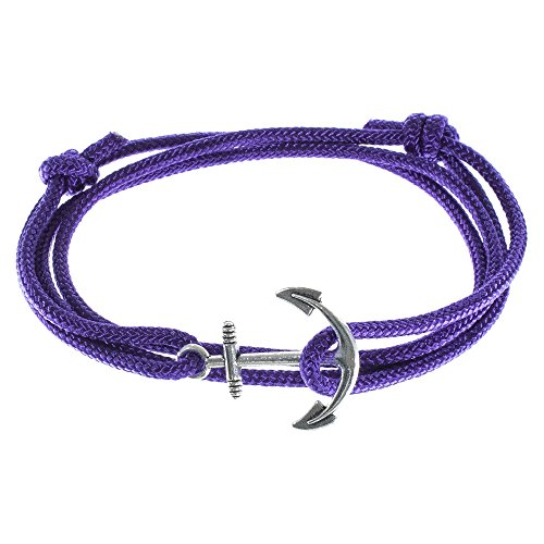 Men's Adjustable Nautical Anchor and Fish Hook Wrap Cuff Bracelets - Available in a Variety of Finishes and Colors - Made of Nylon Rope ()