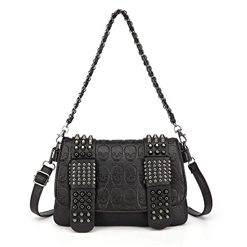 Chikencall Womens Punk Skull Print Crossbody Bag PU Leather Gothic Skull Shoulder Bag Purse with Chain ()