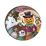 Dunnomart 10pcs/Set Colorful Dishes Cartoon Plates Halloween Party Disposable Dessert Plates