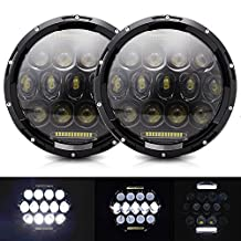 AUSI 2PC 7 Inch Round LED Headlight 75W Multi-Beam Low/High Beam DRL for Jeep Wrangler Jk Tj Harley Davidson FJ Freightliner Kenworth MACK R Peterbilt Led Headlight With H4-H13 Adapter