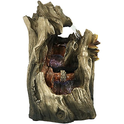 Sunnydaze Cascading Caves Waterfall Tabletop Fountain with LED Lights, 14 Inch