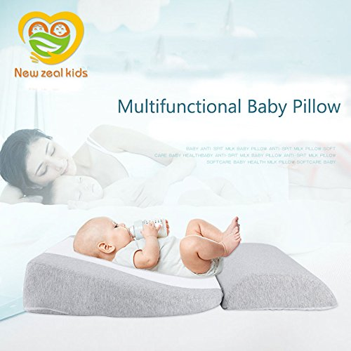 Baby Crib Pillow Mattress Wedge Infant Reflux Reducer Nasal Congestion Reducer High-Density Stereotype Sponge Pillow Newborn Baby Sleep Positioner with Cotton Removable Cover Pregnancy Pillow (Grey) by Newzealkids