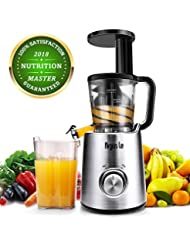 Argus Le Masticating Juicer, Slow Juice Extractor for Higher Nutrient and Vitamins, Easy to Clean Cold Press Juicer for All Fruits and Vegetables (Brushed Sliver)