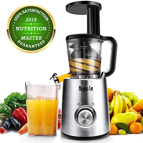 Argus Le Masticating Juicer, Slow Juice Extractor for Higher Nutrient and Vitamins, Easy to Clean Cold Press Juicer for All Fruits and Vegetables (Brushed Silver)