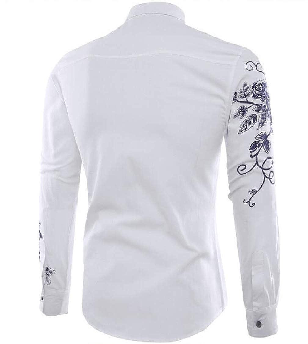 Pandapang Men Button Down Fit Print Big and Tall Long-Sleeve Shirt